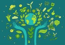 友好的Eco,绿色能量概念,平的传染媒介 免版税图库摄影