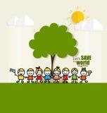 友好的Eco 与逗人喜爱的孩子和树的生态概念 Vecto 库存照片