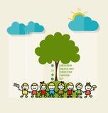 友好的Eco 与逗人喜爱的孩子和树的生态概念 Vecto 库存图片