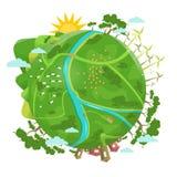 友好的Eco 设计生态好模式向量 绿色行星 免版税库存图片