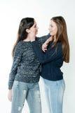 友谊的年轻和美丽的姐妹,分享喜悦,信任, l 库存照片