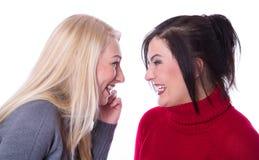 友谊-两个女朋友一起获得乐趣-微笑和spe 图库摄影