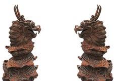双中国式样龙(与裁减路线) 免版税库存照片