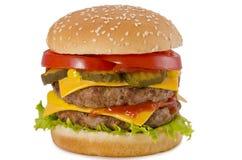 双乳酪汉堡 免版税库存照片