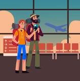 双人旅行,搭车与背包和票 向量例证