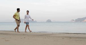 双人走沿谈话的海滩,在海的快乐夫妇通信游人 股票视频