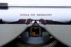 双垂度后退在一台老打字机键入了 免版税库存照片