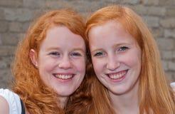 双女孩纵向红发二 库存图片