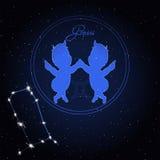 双子星座黄道带的占星术星座 免版税库存照片