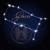 双子星座黄道带的占星术星座 库存照片