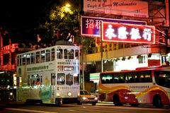 双层汽车电车在香港 免版税库存照片