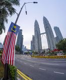 双峰塔马来西亚看法  库存照片