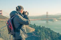 从双峰顶的旧金山citscape 免版税库存图片