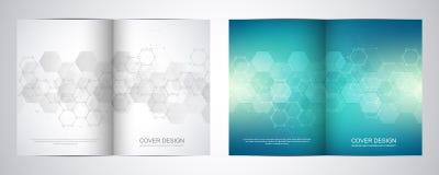双折叠与六角形样式的小册子模板 分子结构和化学制品几何抽象背景  皇族释放例证