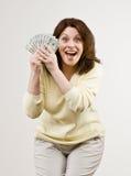 双拿着二十富裕的妇女的美元组 免版税图库摄影