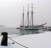 双桅帆船冬天 免版税库存图片