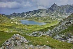 双湖,七个Rila湖的惊人的全景 免版税库存照片