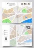 双的企业模板折叠小册子、杂志、飞行物或者年终报告 在A4大小的容易的编辑可能的布局 所有背景更改城市上色无缝的映射选择分隔的样片向量的容易的单元文件层 免版税库存图片