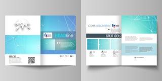 双的企业模板折叠小册子,飞行物 报道设计模板,传染媒介布局, A4大小 化学样式 向量例证