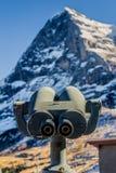 双筒望远镜在北部艾格峰面对 免版税库存图片