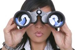 双筒望远镜女商人 图库摄影