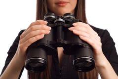 双筒望远镜女商人 免版税库存照片