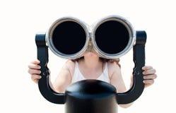 双筒望远镜女孩查找 免版税库存照片