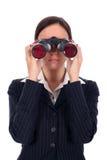 双筒望远镜女实业家查找 免版税库存图片