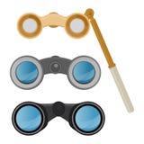 双筒望远镜导航光学设备小望远镜光学神色看见看起来远的看法例证套双眼间谍查寻 向量例证