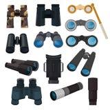 双筒望远镜导航光学设备小望远镜光学神色看见看起来远的看法例证套双眼间谍查寻 库存例证