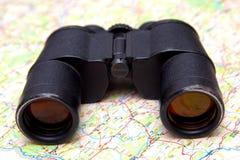 双筒望远镜映射 免版税库存图片