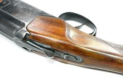 双筒猎枪被隔绝在白色背景 图库摄影