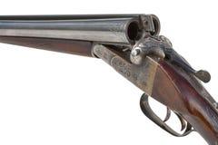 双管的老猎枪特写镜头 免版税库存图片