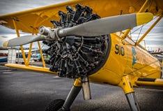 双翼飞机引擎 图库摄影