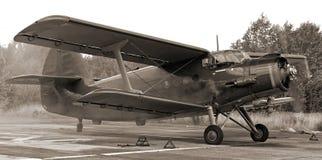 双翼飞机著名照片葡萄酒 免版税库存照片
