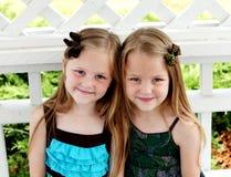 双胞胎小女孩拥抱 免版税库存照片