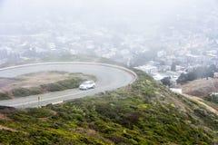 从双胞胎峰顶的旧金山视图 库存照片