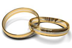 双色的婚戒 免版税库存照片