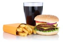 双重乳酪汉堡汉堡包和油炸物菜单膳食组合可乐dri 免版税库存照片