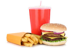 双重乳酪汉堡汉堡包和油炸物菜单膳食组合饮料是 免版税库存图片