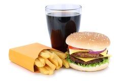 双重乳酪汉堡汉堡包和炸薯条菜单膳食组合c 图库摄影