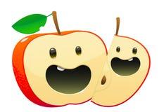 双重人格明亮的水多的鲜美绿色苹果的动画片 库存图片
