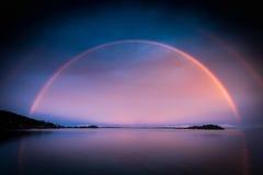 双重彩虹博拉博拉岛法属玻里尼西亚 免版税图库摄影
