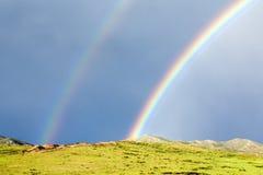 双重彩虹在蒙古 图库摄影