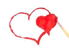 双重心脏绘与刷子和油漆 库存图片