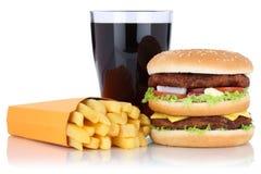 双重汉堡汉堡包和油炸物菜单膳食组合可乐喝iso 库存图片