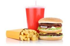 双重汉堡汉堡包和油炸物菜单膳食组合快餐 免版税库存图片