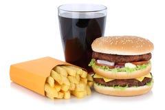 双重汉堡汉堡包和炸薯条菜单膳食组合可乐博士 库存图片