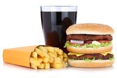 双重汉堡汉堡包和炸薯条菜单膳食组合可乐 免版税图库摄影