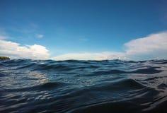 双重风景水和天空照片 海和天空双重背景 免版税库存照片